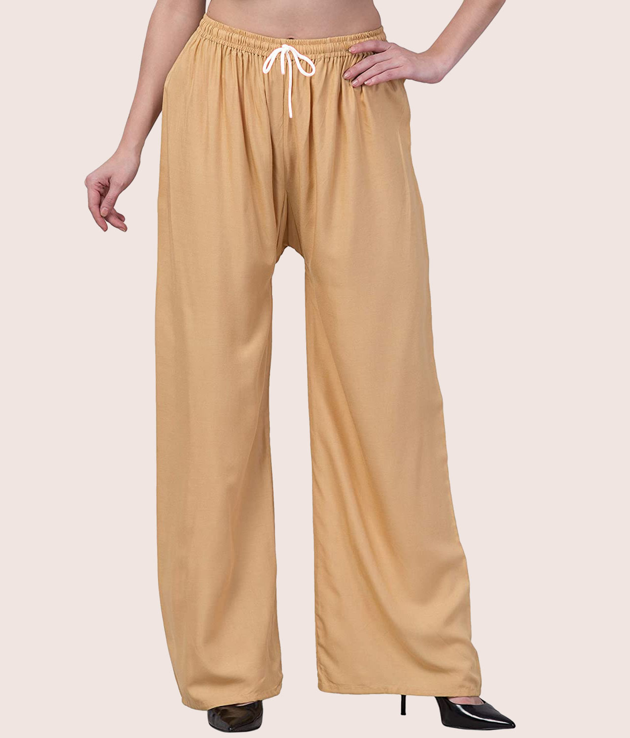 Buy Beige Rayon Palazzo Pants At Just 149/- | Limited Offers